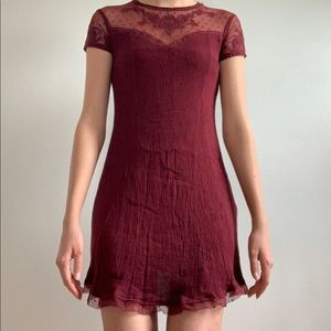 Wine colored mini dress.
